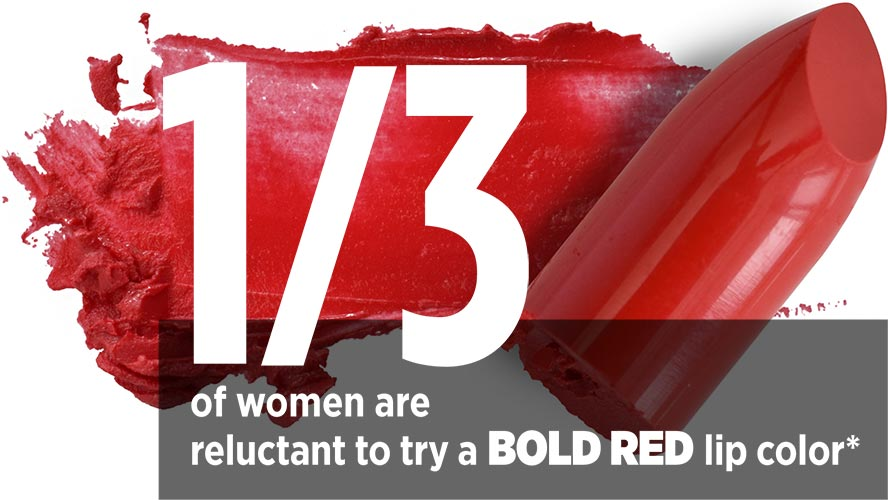 1/3 of women are reluctant to try a Bold Red lip color*.